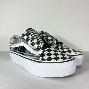 Vans Old Skool Platform Plaid Checkerboard Shoes
